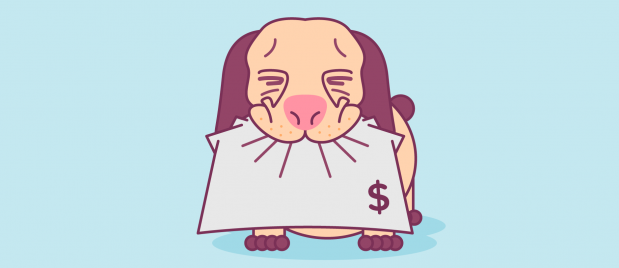 A dog that is eating a bill