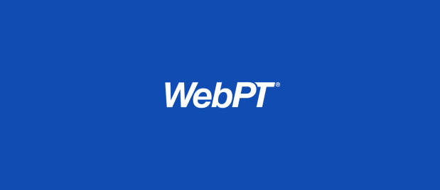 WebPT white logo on blue