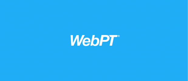 WebPT white logo on light blue
