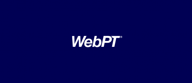 WebPT white logo on dark blue