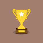 abstract gold trophy with a white star on the cup