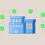 abstract illustration of a building surrounded by green checkmarks