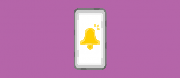 illustration of a cell phone with a bell icon alerting the user