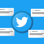 twitter logo surrounded by Twitter social media posts