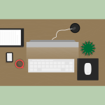 illustration of a top-down view of a front desk