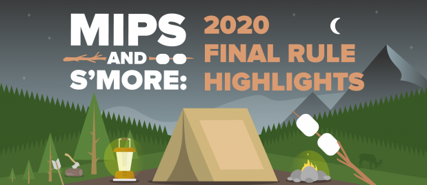 MIPS webinar. Campfire scene with tent and roasting smores