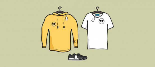 illustration of a sweatshirt, running shoes, and t-shirt merchandise for sale on hangers