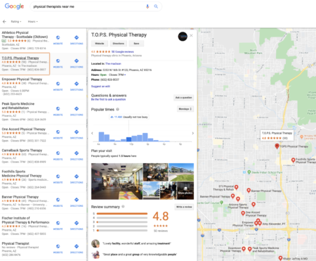 Google local business search results