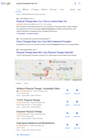 SERP (Search Engine Results Page) from Google