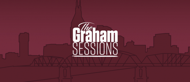 illustration of a city scape backdrop with Graham Sessions logo overlaid