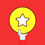 illustration of a left hand holding a yellow circle with a star in the center of it
