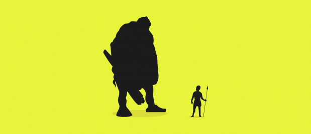 profile illustration of David and Goliath looking at each other