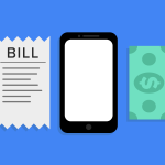 side by side; a bill, a mobile phone, a dollar bill