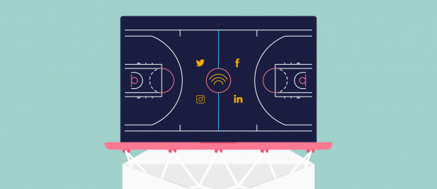 overhead view of a basketball court with social media icons on it