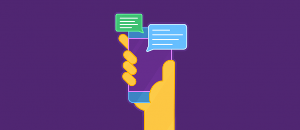 hand holding a mobile device with speech bubbles emerging from it
