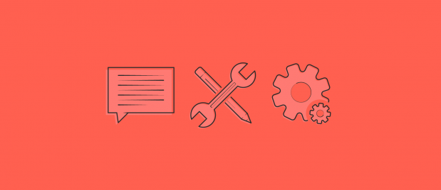 speech bubble, crossed wrench and pencil and a large and small cog