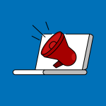 laptop with red bullhorn crying out