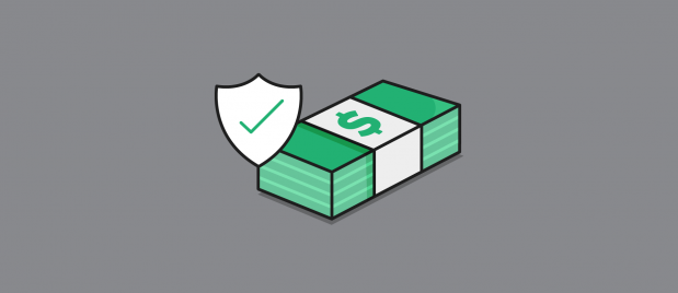 shield with checkmark over a stack of money
