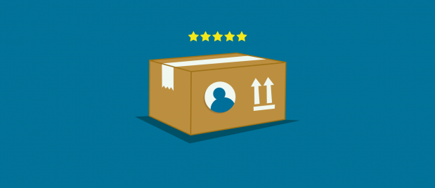 5-star rating over a shipment cardboard box with arrows pointing up
