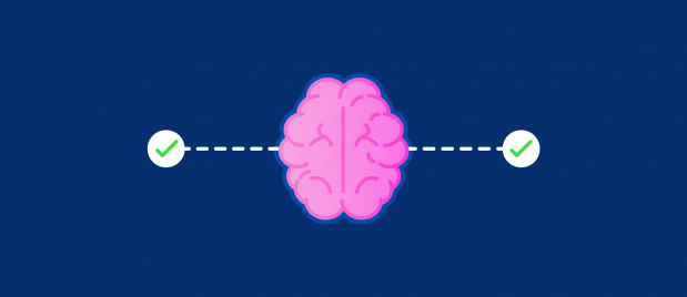 brain connected to two checkmarks to its side