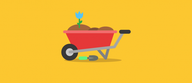 wheelbarrow filled with dirt with a blue flower growing