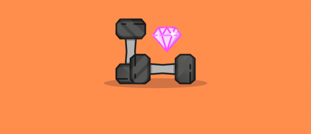 dumb bells arranges with a pink diamond