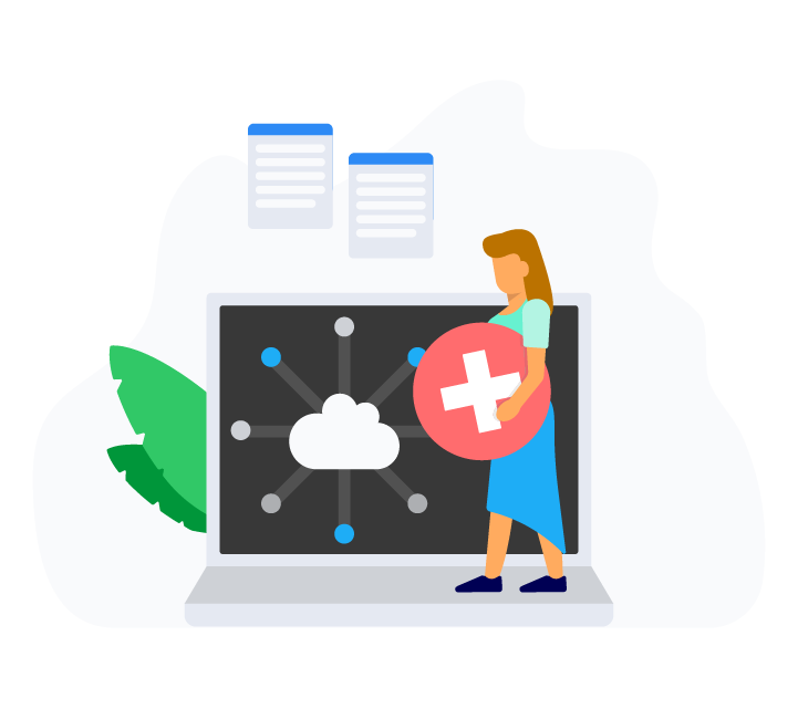 Outpatient Hospital Facilities Cloud Based Illustration