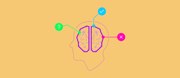 Abstract cutaway profile of mans brain with icons leading into it