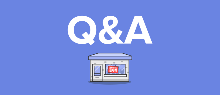 "Q&A hovering of a small business with an ""open sign"" in the front window"