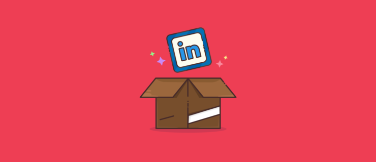 an open cardboard box with a LinkedIn icon popping out