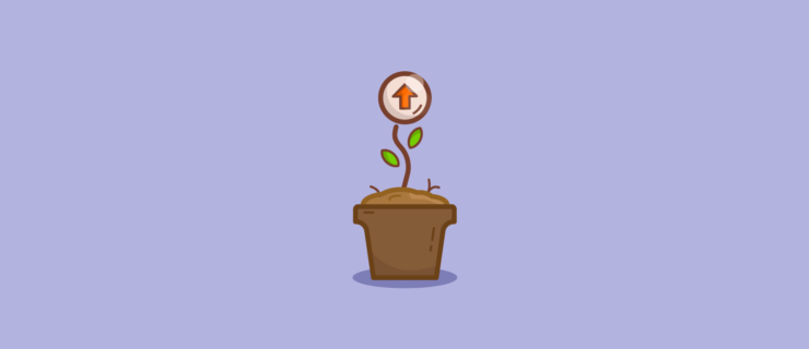 flower pot with an up arrow growing out of it