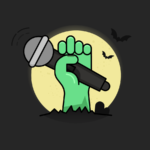 scary zombie hand reaching out of the ground while holding a microphone