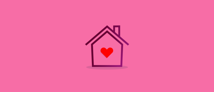 an icon house with a red heart in the middle