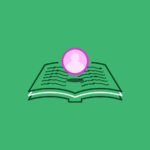 an open book with a floating avatar over the pages