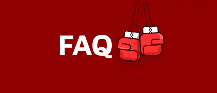 FAQ with boxing gloves hanging around