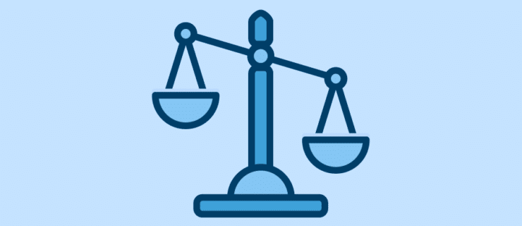 an old-fashioned scale tipping to the right
