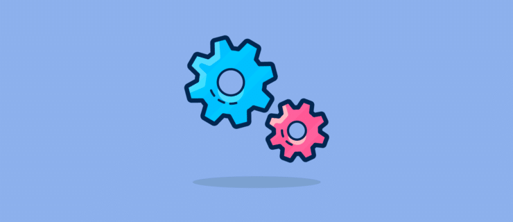 two cogs or gears hovering but not engaged with each other