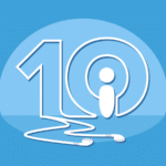 the number 10 written with ear buds' wires