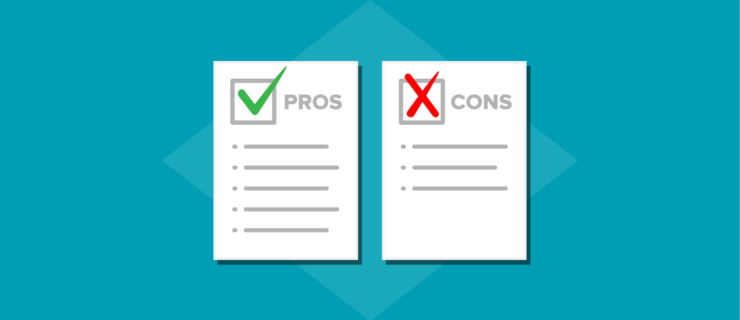 two checklists of pros and cons, respectively