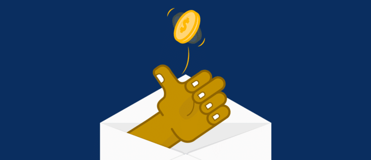 a thumb leaning out of an envelope flipping a coin