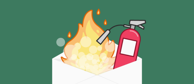 Envelope On Fire And Fire Extinguisher