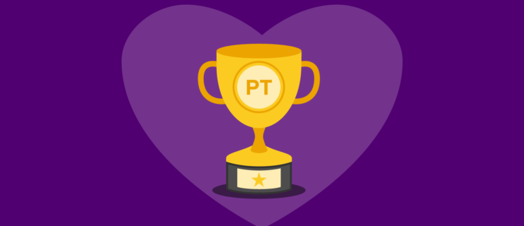 gold champion's trophy set in a heart background